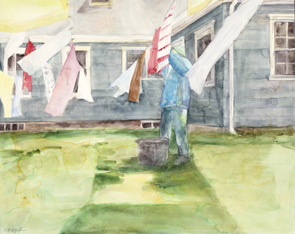 ©Erica Dale Strzepek, 2016. Familiar Task, watercolor, 16 x 20 inches.
