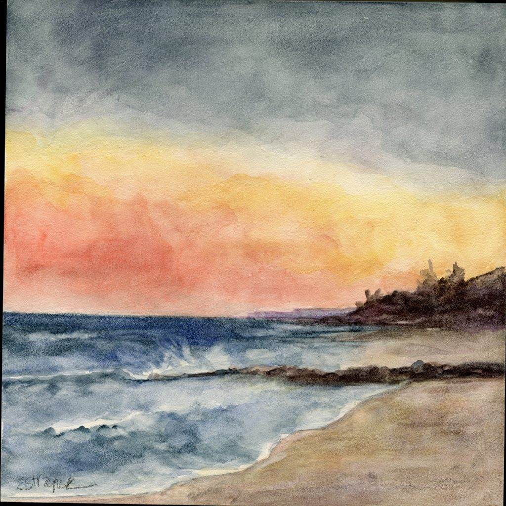 ©Erica Dale Strzepek, Sunset at Earle Road Beach, Watercolor, 8 x 8 inches